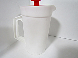 Vintage Tupperware 1 Quart White/red Pitcher