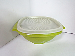 Vintage Tupperware Greeen/clear Servalier Bowl
