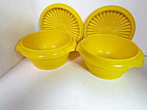 Vintage Tupperware Servalier Yellow Storage Bowls