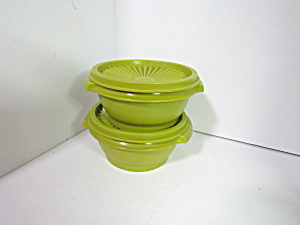 Vintage Tupperware Servalier Green Storage Bowls