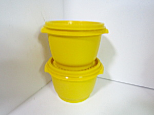 Vintage Tupperware Yellow Servalier Storage Bowls