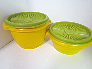 Vintage Tupperware Yellow/green Servalier Bowls