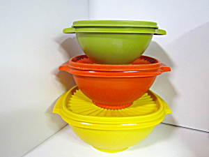 Vintage Tupperware Harvest Colors Servalier Bowl Set