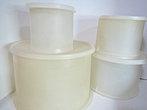 Vintage Tupperware Round Clear Canister Set