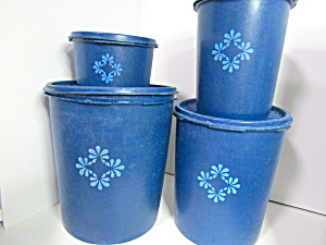 Vintage Tupperware Servaliar Blue Canister Set