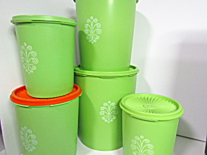 Vintage Tupperware Servalier Apple Green Canister Set