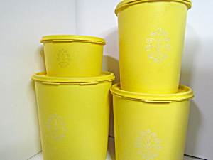 Vintage Tupperware Servalier Yellow Canister Set