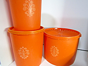 Vintage Tupperware Servalier Orange Canister Set