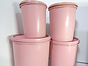 Vintage Tupperware Servalier Dusty Rose Canister Set