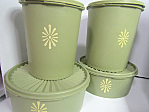 Vintage Tupperware Servalier Harvest Green Canister Set