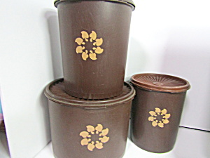 Vintage Tupperware Servalier Brown Canister Set