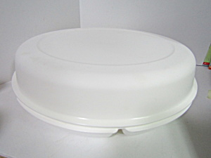 Vintage Tupperware Round White Party Tray Server