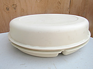 Vintage Tupperware Almond Round Party Tray Server