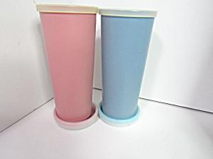 Vintage Tupperware Country Pink & Blue Glasses