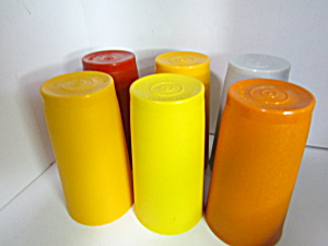 Vintage Tupperware Various Colored Tumbler Set