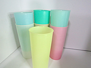 Vintage Tupperware Pastel Various Colored Tumbler Set