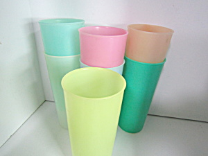 Vintage Tupperware Various Pastel Colored Tumbler Set
