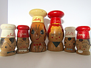 Wooden Chef & Maid Family Salt & Pepper Shakers