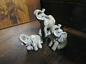 Resin Elephant Figurines Three Piece Set