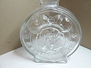 Vintage Mickey And Minnie Glass Coin Bank