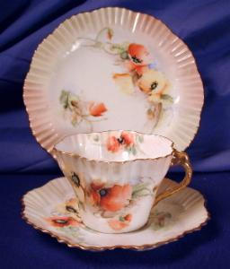 Scottish Belleek Nautilus Hexagon Trio #1