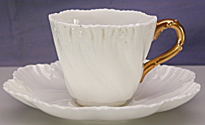 Coalport White Relief Molded Demi C&s