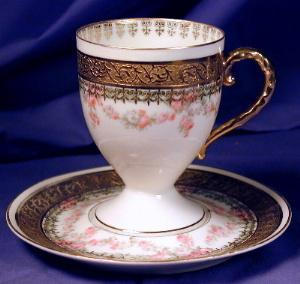 Royal Bayreuth White With Gilt Cup & Saucer 6