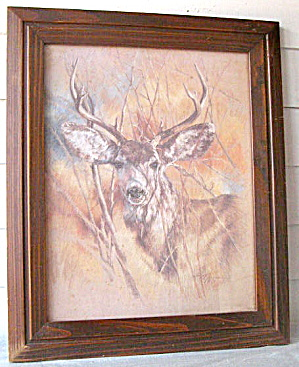 Orig Pastel Art Drawing Of Buck In Forest By K.maroon 1978