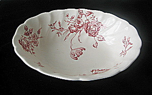 Johnson Bros Vintage Day In June -red Oval Serving Bowl