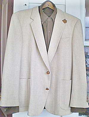 Vintage Mens White Wool Sportcoat- Suede Sleeve Patches
