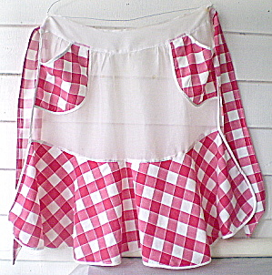 Apron Vintage 1950s Red/white Gingham/organza
