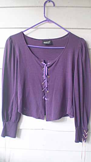 Hippy Top Vintage 1969 Purple Cotton Knit Elizabethan