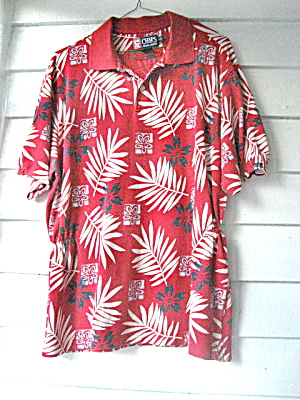 Golf Shirt Ladies Red Flowered 1980