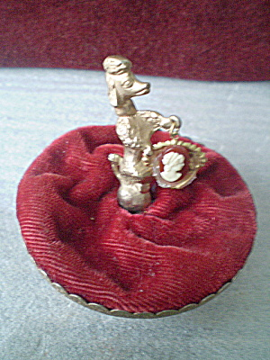 Vintage Poodle Red Velvet Pincushion