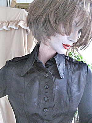 "Blouse Vintage 1969 Black Satin ""hippy"""