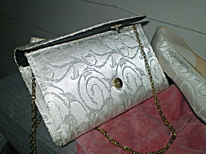 Shoes & Purse Vintage White Satin Brocade