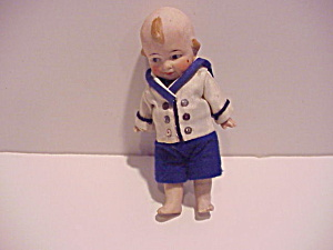 Antique Bisque Boy Doll In Sweet Sailor Suit
