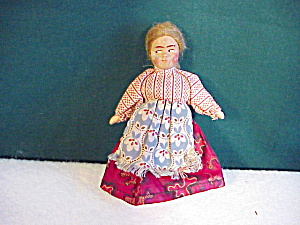 Antique Cloth Doll W/mohair Wig/painted Facea