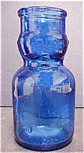 Blue Glass Baby Top Milk Shaped Bottle