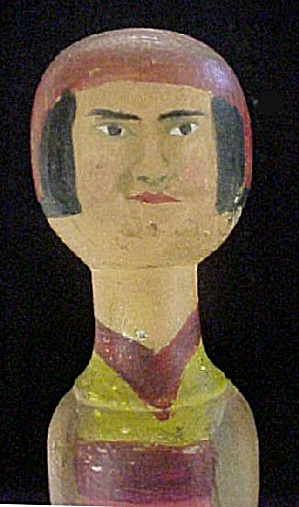 Vintage Wooden Female Folk Art Figure