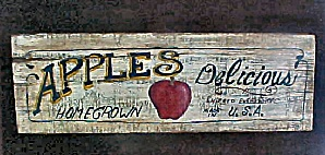 Apples Homegrown Wood Advertising Sign