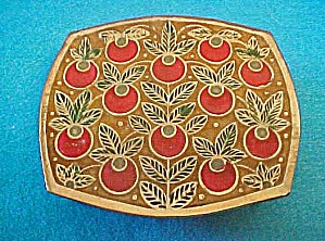 Brass Enameled Box W/apple Design - India