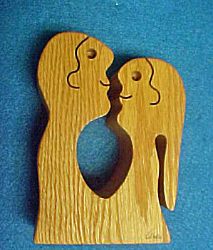 Folk Art Wooden Couple - Signed
