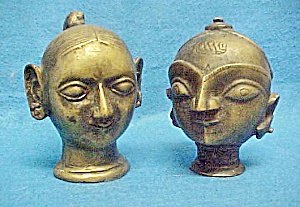 Pair Older Asian Indian Deity's Heads