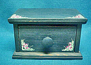 Blue Wooden Folk Art Box