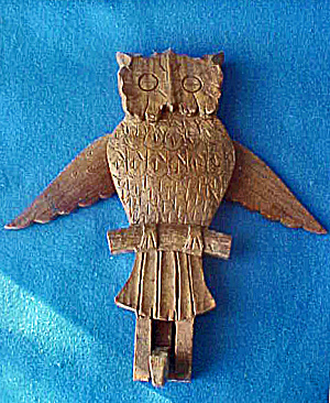 Carved Owl Wooden Hanger - 20th Century