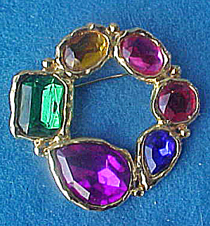 Faceted Crystal Mixed Glass Pin - Art Deco