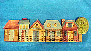Folk Art Small Town Cribbage Board