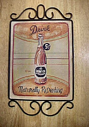 5¢ Drink Orange Beverages Ad Sign