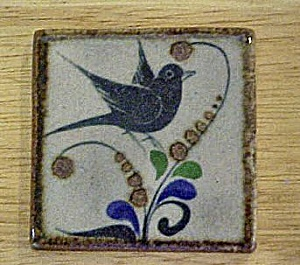 Blue Bird W/flowers Ceramic Art Tile